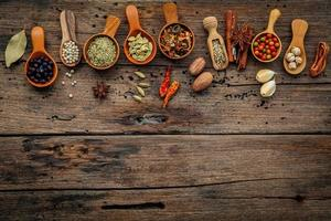 Spices in wooden spoons on a wooden background with copy space