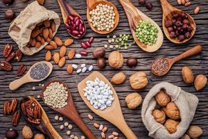Flat lay of legumes and nuts