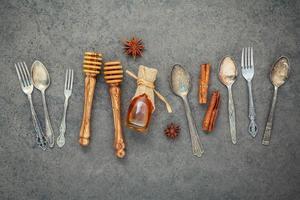 Honey and utensils photo