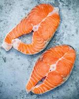 Fresh salmon fillets photo