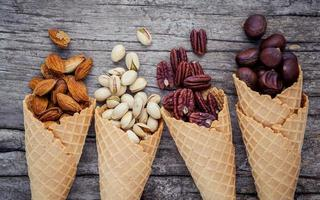 Nuts in ice cream cones