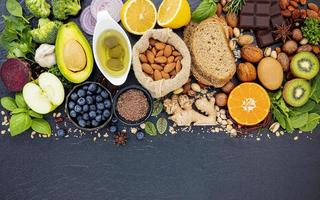 Healthy ingredients on slate photo