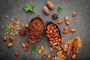 cacao en polvo y granos de cacao foto