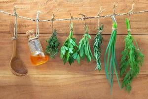 Hanging herbs on wooden background photo