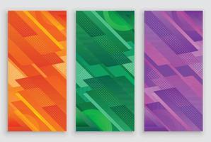 Modern Taper Rectangular Stacks Banner Set vector