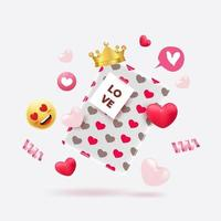 Valentine's Day gift blox with cute heart pattern and elements vector