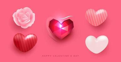 Realistic heart balloon rose element set with pattern vector