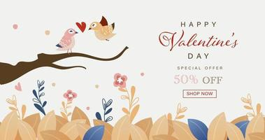 Happy Valentine's Day card of hand drawn cute birds vector