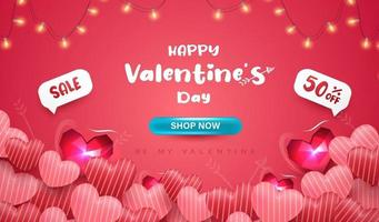 Happy Valentine's day banner or background with 3D realistic hearts vector