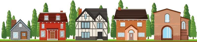 Front of country houses on white background vector