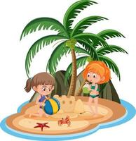 Children at the island isolated vector