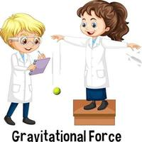 Two scientists doing gravitational force vector