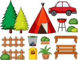 conjunto de objetos de camping aislado vector