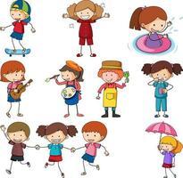 conjunto, de, diferente, garabato, niños, caricatura, carácter, aislado vector