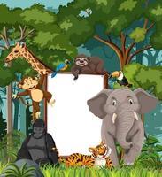 Banner en blanco en la escena de la selva tropical con animales salvajes vector
