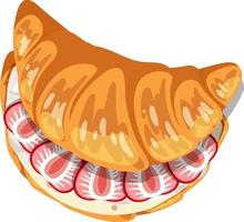 Top view of croissant with cream and strawberry inside vector