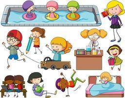 conjunto, de, diferente, garabato, niños, caricatura, carácter vector