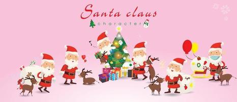 Cartoon Christmas illustrations. Funny happy Santa Claus and reindeer, bag with presents, Sleigh and christmas tree, waving and greeting, For Christmas cards, banners, tags and labels. vector