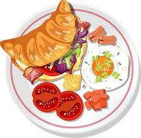 Top view of breakfast dish isolated vector