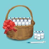 presente canasta con vacunas covid19 y jeringa, el mejor regalo para las personas en la década de 2020, ilustración vectorial sobre fondo azul menta. vector