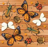 Set of different insects on wooden wallpaper background vector
