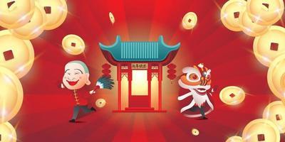 feliz año nuevo chino 2022 año del diseño del buey. tipografía china significa feliz año nuevo vector