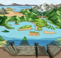 Green nature ecosystem landscape vector