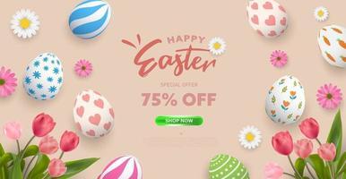 Happy Easter poster background or banner design vector