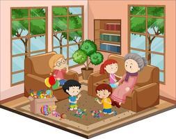 abuela con nietos en la sala de estar con muebles vector