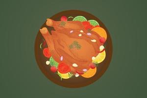Roasted chicken top view for decoration, vector illustration and line drawing.