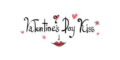 Fondo de beso del día de San Valentín con patrón de corazón y tipografía del texto de script de beso del día de San Valentín vector
