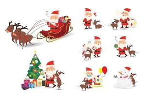 Cartoon Christmas character illustrations set. Funny happy Santa Claus and reindeer, bag with presents, Sleigh and christmas tree, waving and greeting, For Christmas cards, banners, tags and labels.