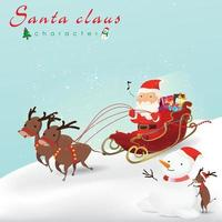 Cartoon Christmas illustration. Funny happy Santa Claus and reindeer on the Sleigh, bag with presents, snowman and little reindeer For Christmas cards, banners, tags and label