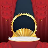 Marble podium round stage podium and paper art for Chinese new year vector