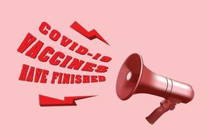 Anuncio de megáfono rojo sobre vacunas covid terminado sobre fondo rosa. vector