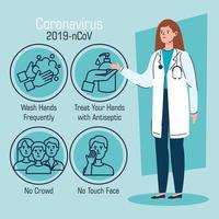 Female doctor with recommendations to stop coronavirus vector