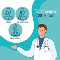male doctor with recommendations to stop coronavirus vector