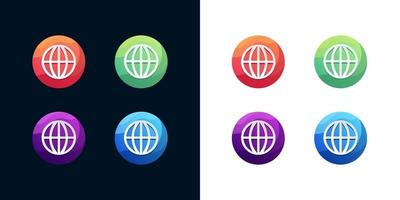 Web icon set on white and dark background vector