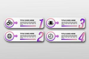 plantilla de visualización de datos comerciales con icono. pasos del elemento de diseño infográfico, opción, proceso, línea de tiempo. Elementos gráficos de color degradado para el proceso, presentación, diseño, banner, infografía, vector