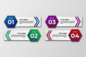 Business data visualization Template. Infographic hexagonal design element steps, option, process, timeline. gradient colorful graphic elements for process, presentation, layout, banner, infograph. vector