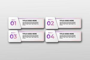 plantilla de visualización de datos comerciales. pasos del elemento de diseño infográfico, opción, proceso, línea de tiempo. Elementos gráficos de color degradado para el proceso, presentación, diseño, banner, infografía, vector
