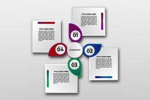 plantilla de visualización de datos comerciales. pasos del elemento de diseño infográfico, opción, proceso, línea de tiempo. Elementos gráficos de colores degradados para el proceso, presentación, diseño, banner, infografía, vector