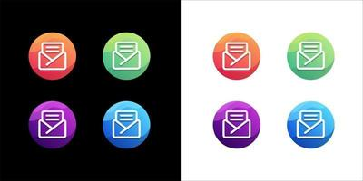 Mail logo design set on white and dark background vector