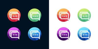 Chat icon set on white and dark background vector