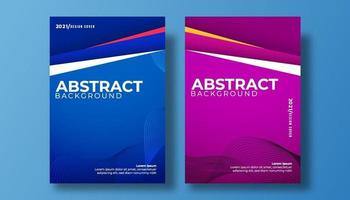 Abstract cover 3d paper art vector illustration set. wave colorful background cover