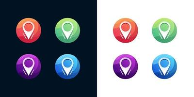 Location icon set on white and dark background vector