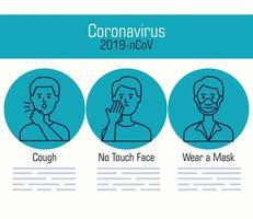 Coronavirus pandemic recommendations banner template vector