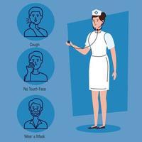 enfermera con recomendaciones para detener el coronavirus vector