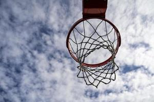 Outdoor basketball rim on a cloudy and sunny day photo