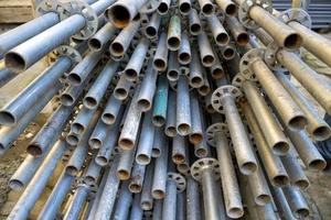 Pile of metal construction poles photo